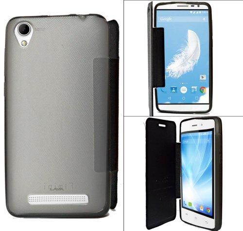 Lava Iris Fuel F1 Mini Premium Flip Cover Diary Folio Flap Case Cover - Black  available at amazon for Rs.154