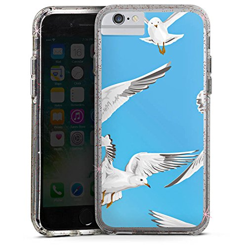 Apple iPhone X Bumper Hülle Bumper Case Glitzer Hülle Bird Vogel Moeve Bumper Case Glitzer rose gold