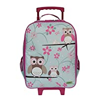 Childrens Carry On Suitcase on Wheels For Girls - Owl Design. Ideal Cabin Luggage / Childrens Hand Luggage Trolley Bag / Suitcase.
