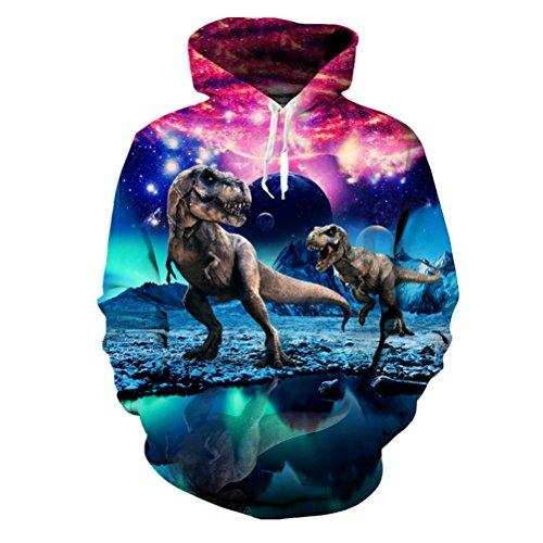 uen Mens Space Dinosaurier Sweatshirts Langarm Crewneck Hoodie Kapuzenjacke (Dinosaurier Hoodie Für Erwachsene)