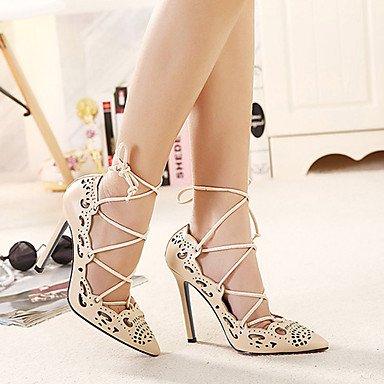 Moda Donna Sandali Sexy donna tacchi Primavera / Estate / Autunno / Inverno cinturino alla caviglia in PVC / pelle vestito Stiletto Heel Slip-on almond