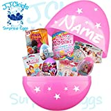 JJCkids Girls Birthday Present 14'' Giant Surprise Egg Filled With Toys & personalized Name (Pink - Name Yes)