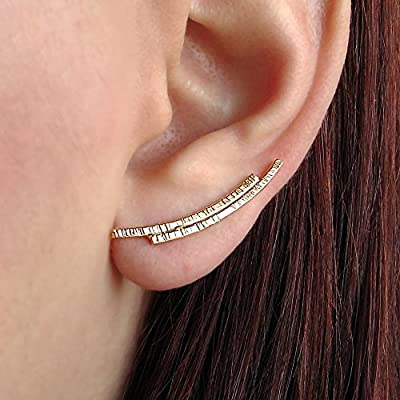 Boucles d'oreilles en argent sterling, Grimpeur d'oreille en argent sterling, cadeau bijoux minimaliste, boucles d'oreilles hypoallergéniques, bagues d'oreilles en argent