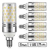 Yiizon LED Mais Glühbirne, E14, 12W, entspricht 100 W Glühlampe, 3000 K Warmweiß, 1200lm, CRI>80 +, kleine Edison-Schraube, nicht dimmbar Kandelaber LED Glühlampen(5 PCS)