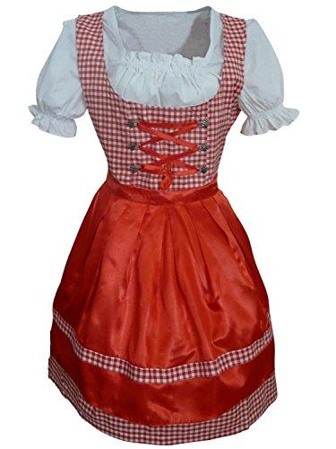 Di01rw Mini Dirndl, 3 teiliges Trachtenkleid in rot weiß, Kleid mit Bluse und roter Schürze, Rocklänge 53-56 cm, Gr. 44