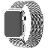 Générique milanaise boucle Bracelet en acier inoxydable Bracelet aimant puissant verrou Smart bande Watch remplacement pour Apple Suivre l'iWatch argent 42MM