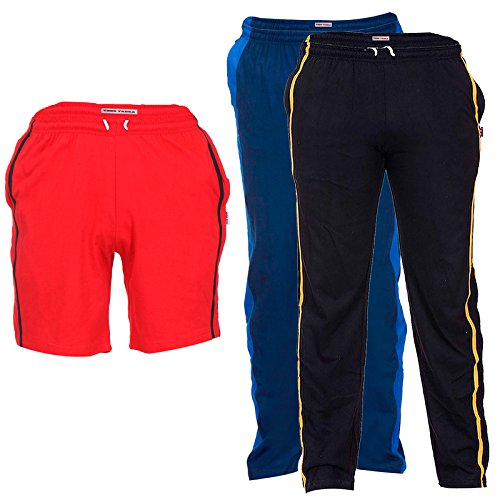 TeesTadka Men's Cotton Shorts and Two TrackPants Combo (Pack of 3)