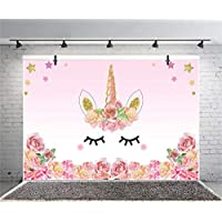 EUGU 7x5ft Vinyl Kids Birthday Party Cute Unicorn Photo Backdrops Cake Table Banner Photography Background for Baby Shower
