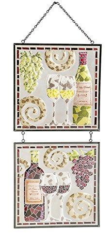 Cape Handwerker 6g5168Evergreen Elegante Wein Mosaik Glas handbemalt Platten mit Ketten (Set von 2) (Glas-mosaik-platten)