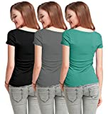 Fashion Line Cotton Lycra Tshirt for Girls/Women (Black, Grey & Light Green, Pack of 3)