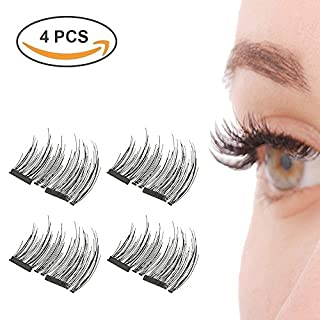 Magnet False Eyelashes, Audel Reusable Fake Eyelashes No Glue 1 pair (4 piece) Lightweight 100% Handmade Eyelashes Extension for Natural Look, Charming Eyelashes (Black)