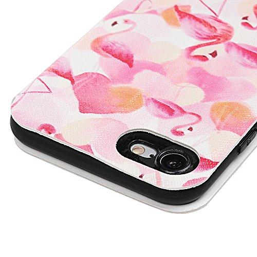 Lanveni iPhone 7 Hülle, Handyhülle für Flip Case Cover PU Lederhülle Schutzhülle Magnetverschluss Ledertasche mit Stander Function Brieftasche Card Slot Handy Tasche mit Bunte Gemalt Design für iPhone Flamingo