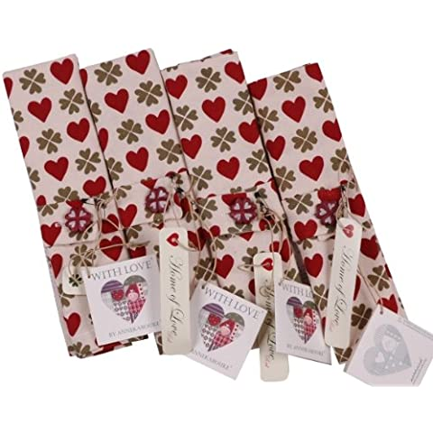ANNEKABOUKE Serviette HOME OF LOVE RED NAPKINS SET OF 4