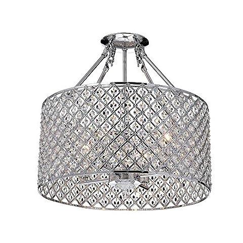 Plafonnier Chrome Round Lamp Shade Crystal Semi Flush Mount Chandelier 4 Lumières Home Lighting Fixture 4 * E14