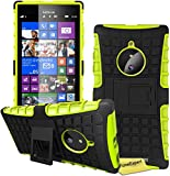 FoneExpert® Nokia Lumia 830 Handy Tasche, Hülle Abdeckung Cover schutzhülle Tough Strong Rugged Shock Proof Heavy Duty Case für Nokia Lumia 830 + Displayschutzfolie (Grün)