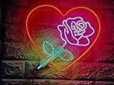 Blume Rose Herz Liebe Love Neon wire Neonschild Neonleuchte Leuchtschild Nachtlicht Barbeleuchtung sign no LED Neonreklame Werbung Reklame