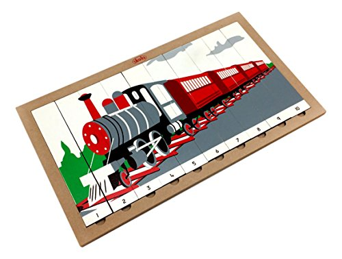 Skola Toys Sequencing Wooden Train Puzzle with Number System from 1 to 10