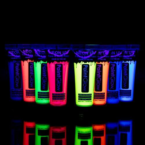 UV Glow Lot de 8 tubes de peinture fluorescente pour le visage et le corps 8 x 10 ml