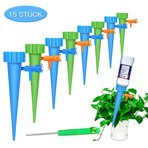 FYLINA Automatisch Bewässerung Set 15 Stück Einstellbar Bewässerungssystem Garten zur Pflanzen Bewässerung Blumen Bewässerung Zimmerpflanze Bewässerung Ideal Wasserversorgung Während Ihrem Urlaub