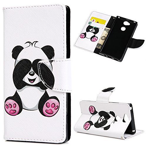 Handyhülle Case für Sony Xperia XA2 Hülle Mit verbundenen Augen Muster Flip Wallet Case Cover in Bookstyle Stand Kartenetui Schutzhülle PU Leder Hardcase Tasche mit Karteneinschub und Magnetverschluß