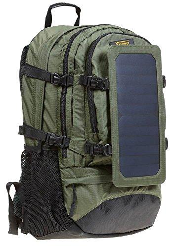 XTPower® SP607BL 6,5W sac à dos Solaire Vert - Compartiment photovoltaïque en nylon - Sac à dos de randonnée avec fonction de chargeur photovoltaïque démontable - Panneau solaire intégré avec 1x USB 5V 1A