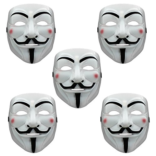 Halloween Cool Guy Kostüm - Smartfox 5X V wie Vendetta Maske Anonymous Guy Fawkes für Fasching Halloween Party Geburtstag Kostüm Karneval Theater Cosplay in weiß
