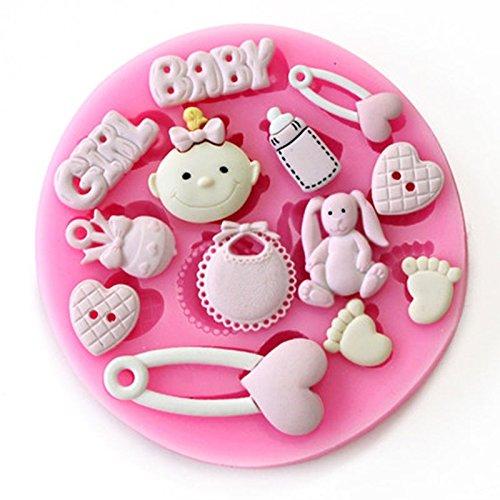 Baby Dusche–Baby Girl–Party 3D Silikonform Fondant-Kuchen Topper