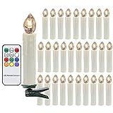 LED Weihnachtskerzen RGB Kerzen Weihnachtsbaum Lichterkette mit Fernbedienung Kabellos Timerfunktion