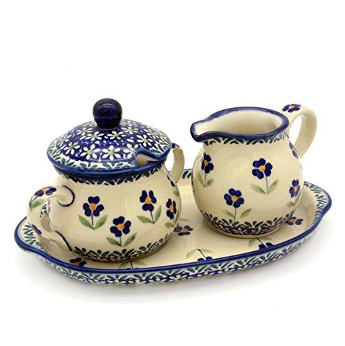 Bunzlauer Keramik Milch- und Zucker-Set mit Untersetzer (Dekor Angelika)