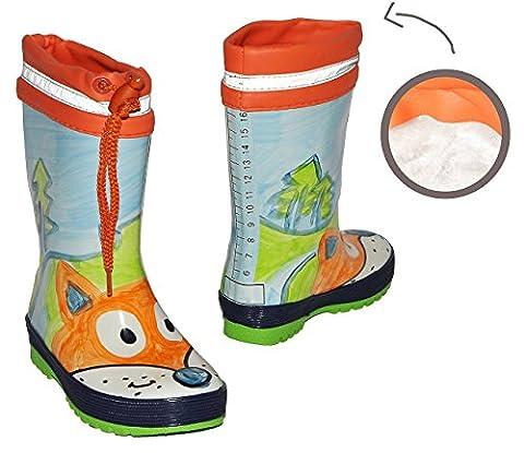 Gummistiefel warm gefüttert - Fuchs Tier - mit Reflektor + zum Schnüren - Größe 33 - für Kinder / Jungen + Mädchen - Naturkautschuk + Innenfutter Winterfutter / Regenstiefel Handbemalt mit 3-D Effekt - Tiere Füchse Schnürung