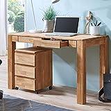 Lomadox Büromöbel Set 120cm Schreibtisch & Rollcontainer Set - Eiche massiv geölt