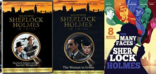 Basil Rathborne as Sherlock Holmes Collection Bundle - The Woman in Green, Secret Weapon & The Many Faces of Sherlock Holmes 8-Movie Set w/Christopher Lee, Reginald Owen and Arthur Wontner