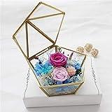 Caja de Anillo de Cristal Boda Anillo Caja Personalizada Nórdico Romántico Simple y Elegante Geometría Irregular Casa de Flores de Cristal Transparente Decoración Creativa para el hogar
