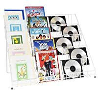 Five Tier White Counter Top Display Stand for Greeting Cards, DVD