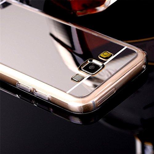 Samsung Galaxy J7 2016 Cover,Samsung Galaxy J7 2016 Custoida,KunyFond Cover Custodia per Samsung Galaxy J7 2016 in Silicone Diamante Bling Glitter Custodia Cover Moda Lusso Placcatura Specchio Scintil argento Placcatura