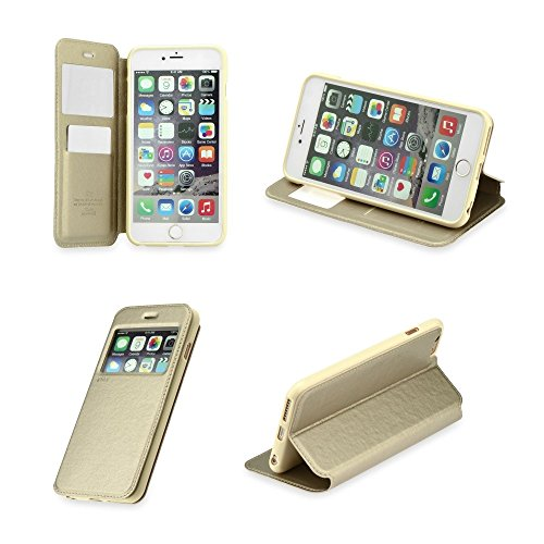 Roar 993560659 Handytasche Noble View für Apple iPhone 5G/5S/SE minze gold