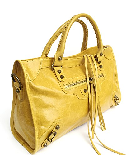 SUPERFLYBAGS Damen handtasche Lux model Barcellona Größe M + Spiegel Made in Italy Gelb