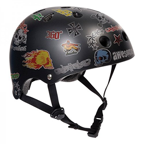 SFR Skateboard / Scooter / Inliner / Rollschuh Schutz Helm - Black Sticker - Bmx, Inliner, Longboard Helm - Schutzausrüstung Skateboard Helm