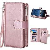 Hülle Galaxy S9 Rose Gold, Galaxy S9 Geldbeutel, Purple Angel Magnet Leder Handyhülle Abnehmbar Brieftasche Flip Case Cover im Ständer Kartenfach Schutztasche Schale Etui