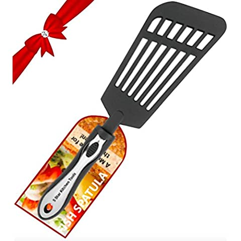 Fish Spatula, Large Multi-purpose Slotted Nylon Turner, for use with Cast Iron, Stainless Steel and Non-stick Cookware, from 5 Star Kitchen Tools by 5 Star Kitchen Tools