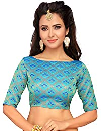 0fa4a31c1a5a9 STUDIO SHRINGAAR WOMEN S BENARAS BROCADE SAREE BLOUSE WITH BOAT NECK  -JHUMKA DESIGN