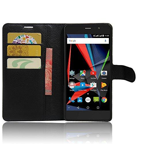 SMTR Archos 55 Diamond Selfie Wallet Tasche Hülle - Ledertasche im Bookstyle in Schwarz - [Ultra Slim][Card Slot][Handyhülle] Flip Wallet Case Etui für Archos 55 Diamond Selfie