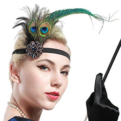 BABEYOND Damen 1920s Stirnband Pfau Feder 20er Jahre Stil Flapper Haarband Inspiriert von Great Gatsby Damen Kostüm Accessoires (Stil (Kostüm Pfau Ein Halloween)