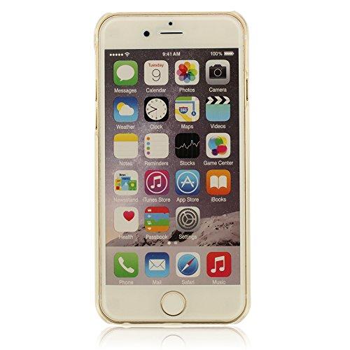 Giallo Liquido Case Cover per iPhone 6 Plus, iPhone 6S Plus Custodia (5.5 Pollici) + Morbido Silicone Staffa di Supporto, Frutta e Colorato Liquido Stile, Equisite Calice Modellazione, Duro Trasparent Bianco