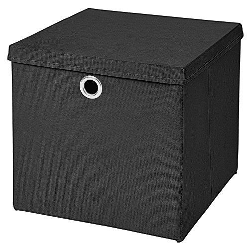 1 Stück Faltbox Schwarz 28 x 28 x 28 cm Aufbewahrungsbox faltbar mit Deckel