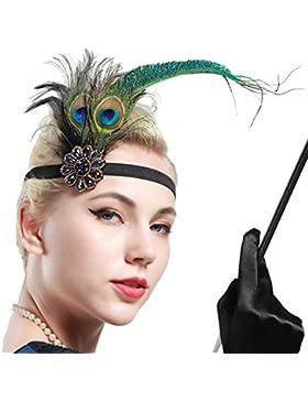 BABEYOND 1920 Flapper Diadema de Pluma de Pavo Real Cinta para el Pelo con Lentejuelas Vintage Gatsby Disfraz...