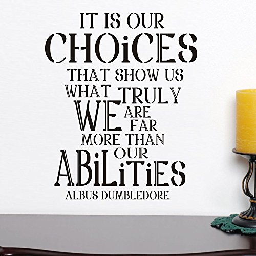 Harry Potter Poster Albus Dumbledore Zitat Inspirierende Zitat Wand Aufkleber Vinyl Wand Graphic Home Art Decor-Es ist unsere Choices, Vinyl, Custom, 27