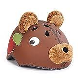 Lommer Fahrradhelm Kinder, Teddybär Design Helm Kinder Schutzhelm für Fahrrad, Skaten, Scooter für Jungen und Mädchen size M (Braun)