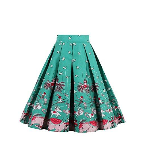 iShine elegant Faltenrock Damen Knielang Skirt A-Linie Röcke damen Kurz Swing Rock Minirock Vintage Kleider Partykleider Cocktailkleider Grün/B