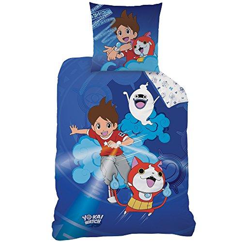 Yo-Kai Watch 044788Gang Parure de lit en coton renforcé, bleu, 135x 200cm